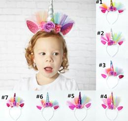 Cabeza del cuerno del unicornio del cabrito del bebé de la venda del pelo del cordón de la flor de la corona vendas del pelo del vestido de lujo del vestido Cosplay decorativo desde fabricantes