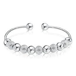 Wholesale Wholesale Brass Cuffs - 2018 Luck Bracelets & Bangles Vintage Silver Transfer Beads Adjustable Bracelet For Women Girls Jewelry Accessories drop ship 320069