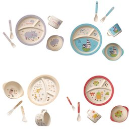 Wholesale Bamboo Fork Set - Bamboo Fiber Cartoon Printing Plate Children's Degradable Five-piece Tableware Set Forks Spoon Cup Tableware For Children