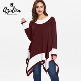 d24ff7677e9 AZULINA Plus Size T-Shirt Women Color Block Long Sleeve Handkerchief T-Shirt  Female Fall T Shirt Ladies Tops Big Size Clothing