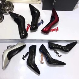 Wholesale Unique Dress Straps - Black Patent leather Pumps Women Dress Wedding Shoes Unique Designer Pointed toe Slip on Solid Single T Show Ladies Pumps Plus Size Euro 40