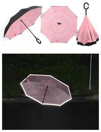 Sicherer regenschirm online-Kreativer reflektierender umgekehrter Regenschirm 2018 vollautomatischer sicherer pongee c-Griff rückseitig faltendes MINDESTENS 17PCS FEDEX freies Verschiffen