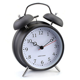 стильные часы Скидка Stainless Metal Ultra Quiet Needle Walking Table Desk Alarm Clock for Kids Children Schoolboys Girls Black White Stylish Clock