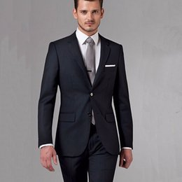 2a7f8b7177 Black Business Mens Suits Custom Made Bespoke Classic Black Wedding Suits  For Men Tailor Made Groom Suit WOOL Tuxedos For Men grey bespoke tuxedo  outlet