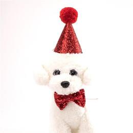 2019 guinzagli collari di cani svegli Cute Dog Collar Guinzagli Accessori Baby Birthday Party Cappello Suit Cani Vestiti Cravatta Costume Set Good Quality 5ay ii guinzagli collari di cani svegli economici