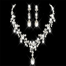 Wholesale Girl Pearl Sets - Cheap Rhinestone Faux Pearls Bridal Jewelry Sets Earrings Necklace Crystal Bridal Prom Party Pageant Girls Wedding Accessories Free Shipping