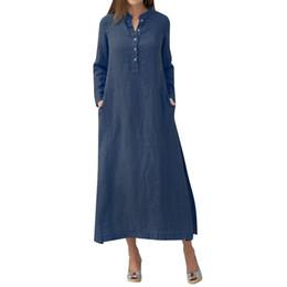 9b14cc4e47c Women Vintage Maxi Dresses Casual Cotton Linen Long Dress Women Long Sleeves  Side Pockets Slit Robe femme ete 2018 Lady Dresses