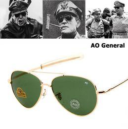 a7854c38961e8 En gros Armée MILITAIRE MacArthur Aviation Style AO Général lunettes de  Soleil Américain Optique Verre Lentille Hommes Lunettes de Soleil Oculos De  Sol