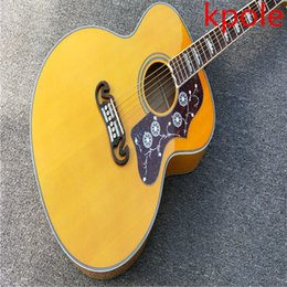 Wholesale Guitar Top Wood - Free transport natural wood Kpole j200 log guitar solid acoustic guitar top quality AAA solid spruce back border tiger stripes