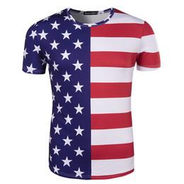 Camisa de homens de listras de estrelas on-line-Copa do mundo EUA 3D Impresso Fãs de Futebol T Camisas Listra Estrela de Manga Curta Casuais Camisas Dos Homens T Plus Size M-2XL