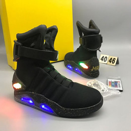 Wholesale Christmas Lights Auto - AIR Mags Marty McFlys Sneakers Glow In The Dark Men's Basketball Shoes Footwear Mag Glow Sneaker Gray Black Red Colors with auto lace
