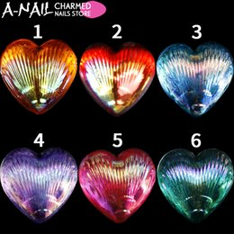 Wholesale Heart Rhinestones Nail Art - 6 Jars set Multicolor Charmed Peacock Flatback Heart-shaped Nail Rhinestones 3D UV Gel Acrylic Tips Nail Art Decorations Tools