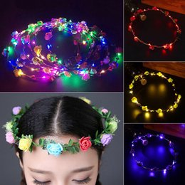 Wholesale Blue Led Halo - Wedding Party LED Flower Head Wreath Hats Crown Floral Halo Garland Bridal Wedding Headpiece LED Flowers Hats for Wedding Party