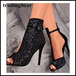 zapatillas negras Rebajas 11cm de diamantes de imitación negro del diseñador de moda de lujo botín punta abierta del tobillo de las mujeres zapatos de las señoras los altos talones de las bombas de tamaño 35 a 40