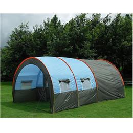9f055acccf060 Grande tente de camping en fibre de verre de toile imperméable 5-8 personnes  Tunnel de famille 10 partie d'alpinisme en plein air d'équipement de tentes  de ...