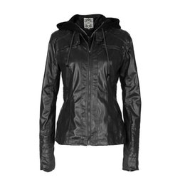 Wholesale leather jacket women xxl - Wholesale- Women Casual Coat 2017 Autumn Winter PU Leather Jackets Slim Hooded Zipper Windbreak Warm Coats Bomber Jakcet Jaqueta Couro XXL
