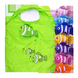 Wholesale fishing numbers - A large number of wholesale nylon cartoon tropical fish bag, clownfish folding shopping bag, gift bag supermarket shopping, free shipping
