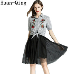 b27d74ffacc New Summer Office Lady 2 Piece Set Women Short Sleeve Floral Embroidery  Striped Shirt Tops + Black Mesh Skirt Two Piece Set Suit
