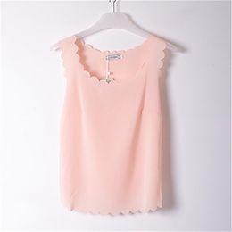 Wholesale Tank Top See Through - See Through Tank Tops Blusas Blouse Women Summer New Lady Chiffon Shirt Blusa Feminina Camisa Top Girls Light Pink Shirts LY1001