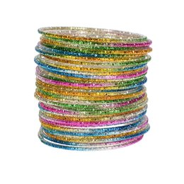 Wholesale Looped Wire - 50pcs Chromatic Aluminum Loop Bracelet Steel Wire Cuff Bangle For Children Baby Kids Dance Jewelry Findings Bangle