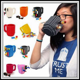Wholesale Puzzle Blue - 10 Colors 350ml Build-On Brick Mug Block Puzzle Mug Building Blocks Coffee Cups Frozen Coffee Tea Mug Brick Mugs CCA9323 20pcs