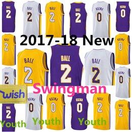 Wholesale Lakers Jersey Xxl - 2017-18 New Los Angeles jersey Lakers #2 Lonzo Ball 0 Kyle Kuzma Wholesale swingman jerseys Embroidery 100% Stitched