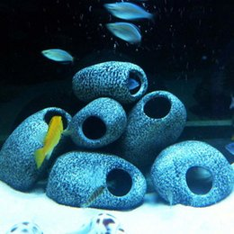 Grottes d'aquarium en Ligne-1pc petite roche grotte en céramique en pierre décoration pour aquarium réservoir de poissons Cichlidés