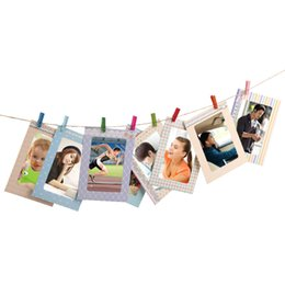 Wholesale Hanging Rope Frame - 2017 Creative Home 8Pcs 6 inch Rectangle Paper Photo Frame With Wood Clips Wall Picture Album DIY Hanging Rope Frame Home Decer