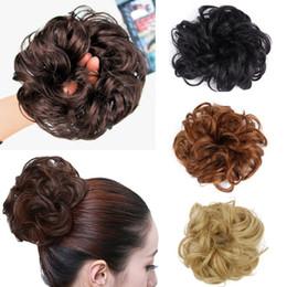 Extensões de cabelo de corda on-line-Corda cabelo desarrumado Chignon elástico de cabelo sintético Coque Extensão Curly onduladas Scrunchie Hairpiece Donut Buns chignons frete grátis