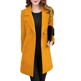 Coreano moda casaco longo on-line-2018 Mulheres Casaco De Trincheira De Lã Outwear Outono Inverno Quente Casacos de Lã Longa Blusão Coreano Moda Feminina Sólida Sobretudo Magro
