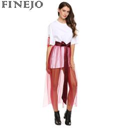 5240b13f20e7ec FINEJO Patchwork Sexy Mesh Frauen Lace-up Hohe Taille Lose Maxi Rock  günstig mesh maxi skirt