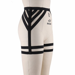 Wholesale Garters Stockings Legs - BODY CAGE Womens Sexy High Waist Garter Black Elastic Leg Stocking Suspender Belt Punk Goth Harajuku BDSM Bondage thigh Harness