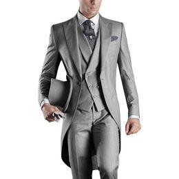 Canada Italien Long Tailor Coat Gris Hommes Costume Pour Mariage 3 pièces (Veste + Pantalon + Gilet + Cravate) Masculino Trajes De Hombre Blazer cheap italian men wedding suits Offre