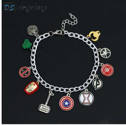 justin bieber armbänder silikon Rabatt dongshengSuperhero Marvel Avengers Emaille Logo Captain America Iron Man Deadpool Schild Wunder Frauen Charm Armband für Frauen-25