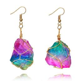 Stein perlen ohrring online-Multi-Color Natural Crystal Quarz Healing Point Chakra Bead Edelstein Ohrringe original Naturstein-Stil Anhänger Ohrring Dangle