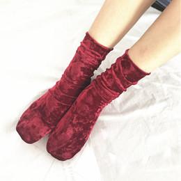 Wholesale Girls Shiny Spandex - 1Pair Fashion Women Girls Casual Velvet Socks Soft Vintage Retro Luxury Shiny Hosiery Winter Warm Short Socks Hipster