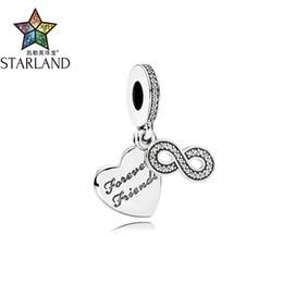 Бесконечность друзья украшения онлайн-Starland Fashion Silver 925 Forever Friend Clear CZ Infinity Charms  Fit Original Charms Bracelet & Pendant Women Jewelry