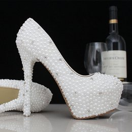 Wholesale Prom Shoes Size 11 - Fashion Luxurious Pearls Crystals Wedding Shoes Custom Made Size 11 cm High Heel Bridal Shoes Party Prom Women Shoes Free Shipping