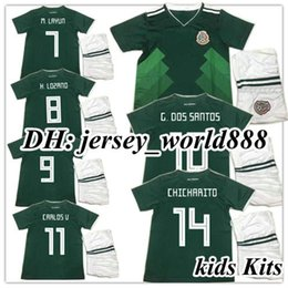 Wholesale Boy Cups - 17 18 kids World Cup Soccer jersey Kits Mexico home green CHICHARITO M FABIAN G DOS SANTOS 2017 2018 Mexico away white child Football shirt