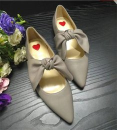 Wholesale Comfortable Party Heels - New full leather pointed toe flat shoes leather bowtie comfortable all match slip-on women's singles shoes