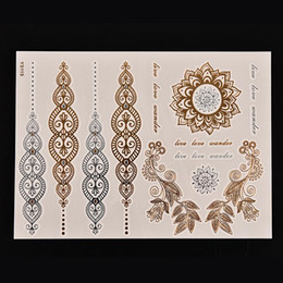 металлические татуировки  Скидка 1PCS Body Paint tattoo taty Glitter gold tattoo stickers Metal temporary flash tattoos Arabic Henna Wholesale