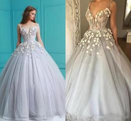 Wholesale Chiffon Sweetheart Bling Long Dress - .Cinderella Dusty Silver 3D Floral Ball Gown Prom Dresses 2018 Luxury Crystal Bling Bling Sweetheart Occasion Evening Wear Dress