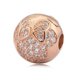 Wholesale gold stopper bracelet - Authentic 925 Sterling Silver Bead Charm Rose Gold Crystal Pvae Clip Stopper Bead Fit Bracelet Bangle Diy Jewelry