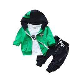 Wholesale Three Piece Boys Hooded Outfit - 2018 Spring Autumn Children Cotton Clothing Sets Fashion Baby Hooded Jacket T-shirt Pants 3 Pcs sets Boy Tracksuit Infant Outfit