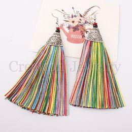 2019 großhandel kunststoff kronleuchter Womens Long Tassel Dangle Earrings für Frauen / Mädchen Fringe Drop Earrings Elegant