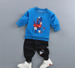 Wholesale Children S Winter Pants - New children ' s clothes Long-sleeved sweater suit for boys two - piece suit small combed cotton high waist pants baby girl ' s suit