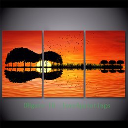 Wholesale Guitar Modern Art Painting - Guitar Tree Lake Sunset,3 Pieces Home Decor HD Printed Modern Art Painting on Canvas (Unframed Framed)