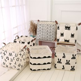 Wholesale polka dot storage - 6 Styles Storage Laundry Basket Cartoon Dot Pattern Bags Clothes Packing Cube Organizer Nursery Deocr 32cm 60pcs NNA429