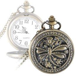 Wholesale Glass Dragonfly Pendant - Pocket Watch For Nurse Hollow Dragonfly Clock Quartz Pocket Watch Alloy Retro Necklace Pendant Gift Chain Clock @17 TT@8