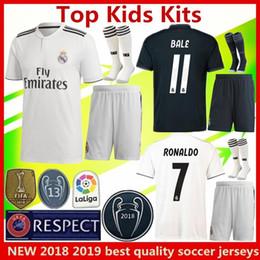 Wholesale real jersey child - 2019 new Real Madrid soccer jersey kids kits 2018 RONALDO MORATA MARCELO SERGIO RAMOS KROOS BENZEMA ISCO SUAREZ children Football shirt